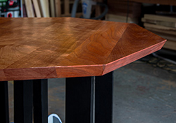 Custom hexagon shape mahogany table