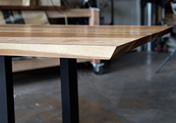 Pecan hickory table with beveled edged