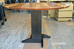 Custom size round cherry dining table with pedestal base