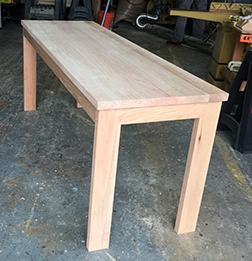 Custom oak table with narrow width