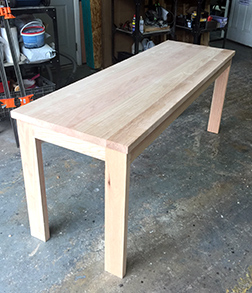 Another photo of the custom sized oak table