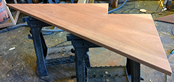 Unfinished mahogany table top with custom shape