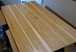 Another view of the pecan hickory dining table