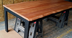 Mahogany dining table with optional live edge