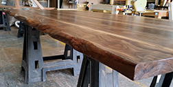 Raw edge walnut table top