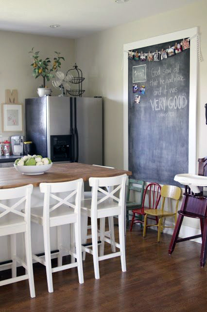 Large Custom Size Chalkboard In Kitchen and Dining Area