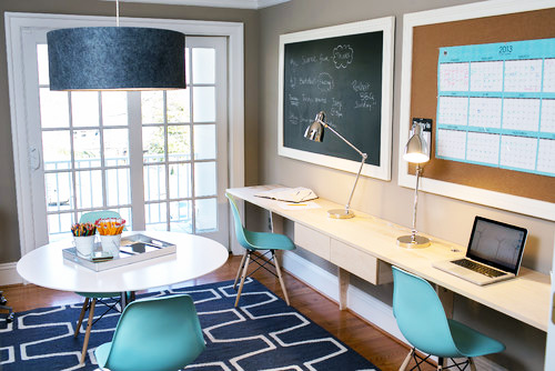 Home Office Corkboard and Chalkboard