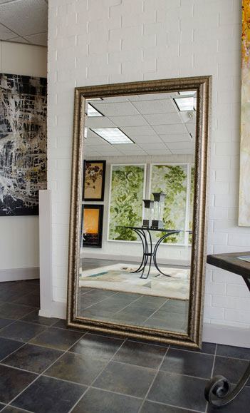 Floor mirror with gold frame