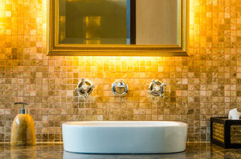 Metallic gold silver frame bathroom mirror