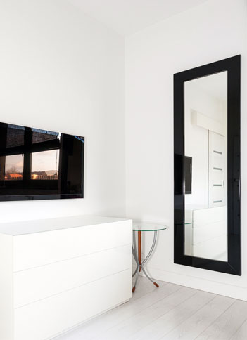 Custom wall mirror with black frame