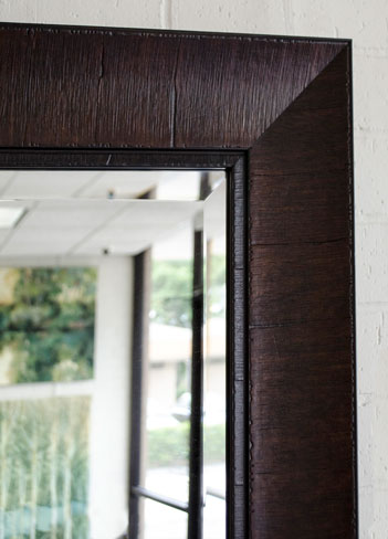 Thick border brown framed mirror