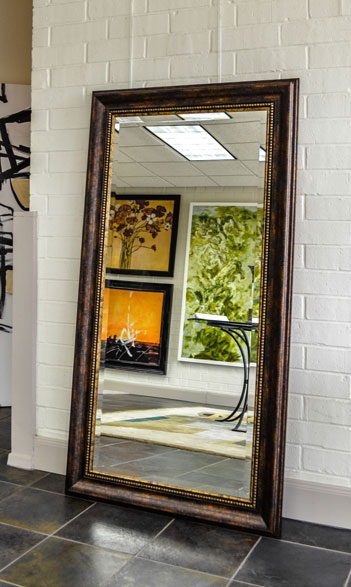 Brown framed bathroom mirrors custom sized for Gold frame floor mirror