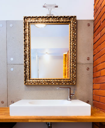 Bathroom mirror on gold frame