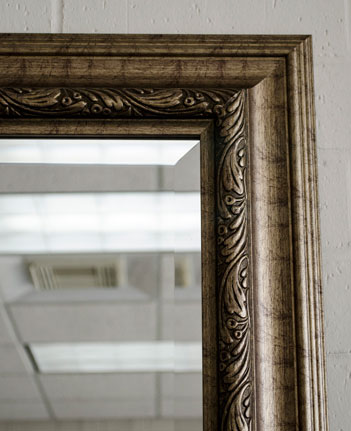 Gold silver rustic framed mirror