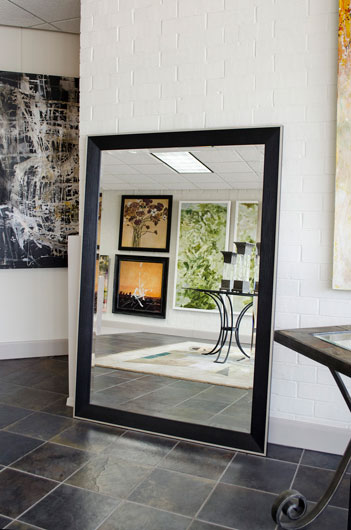 Black silver framed bathroom mirrors custom sized for Large black framed mirror