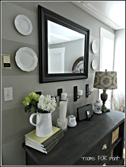 Black framed mirror for home entry decoration