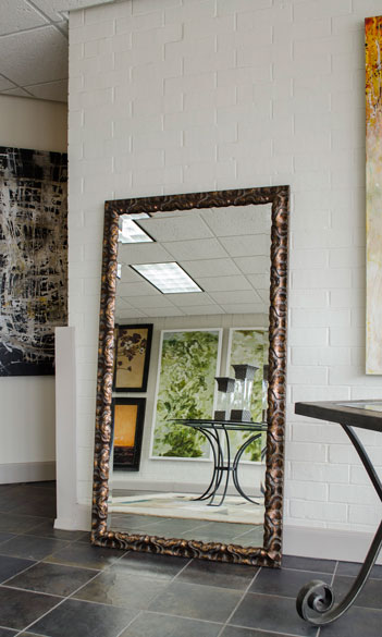 Large floor mirror with unique frame