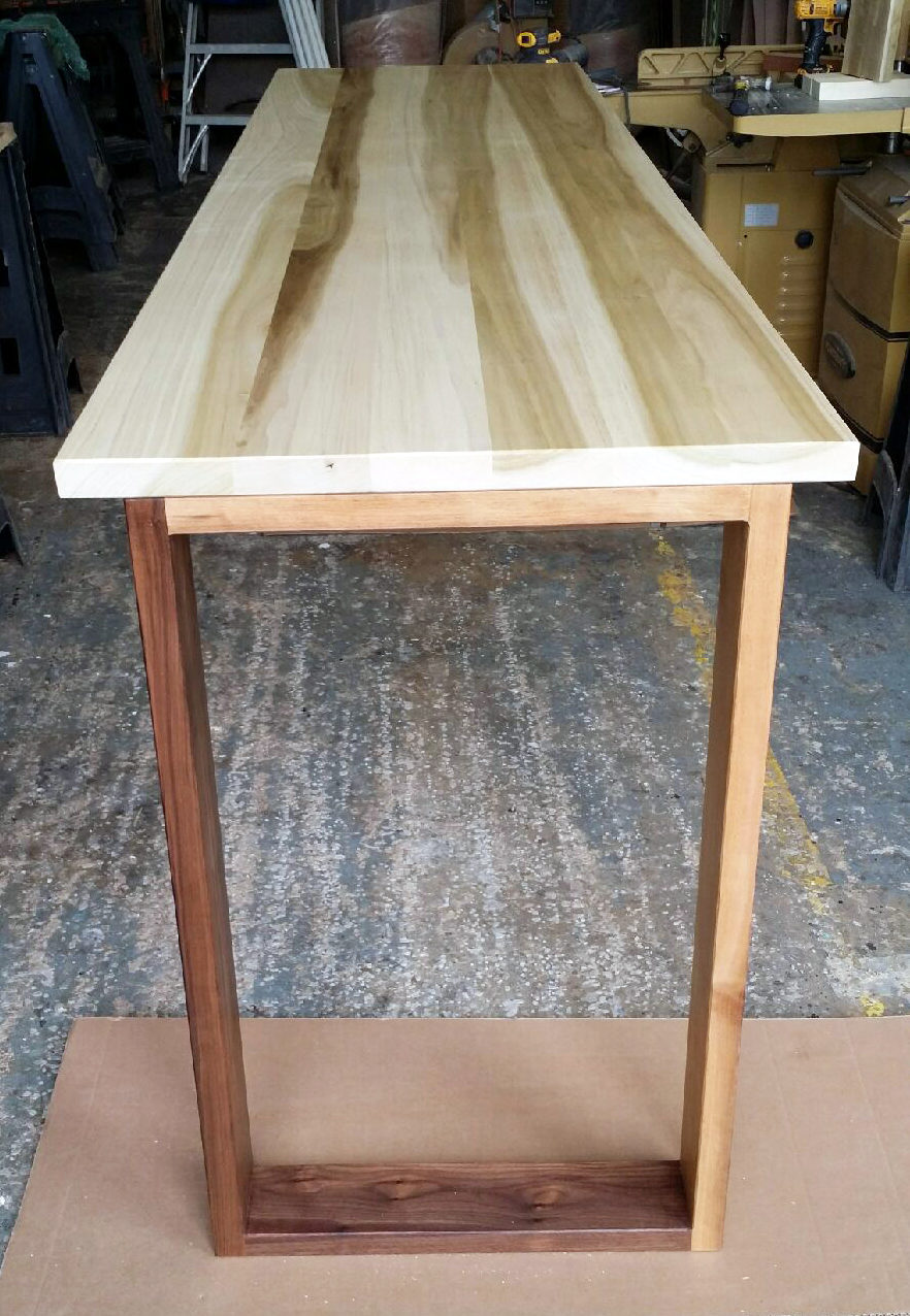 Cleveland   Counter Height Poplar Table Top With Clear Finish And Walnut  Base