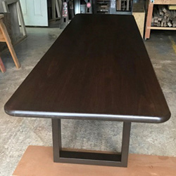 Burke Table - Long 120x40 table top with round corners and bullnose edges on espresso base