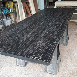 Charleston Table - Rustic black finish table top with grey nail holes and line textures