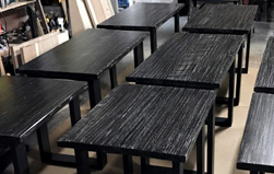 Charleston Table - 9 rustic black finish tables going to a trendy fried chicken restaurant in Maryland