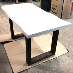 Charlotte Table - White table top with espresso square base