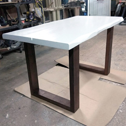 Charlotte Table - White table top with espresso base