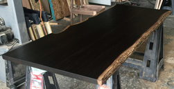 Frisco Table - Dark walnut finish table top with bronze live edge cut