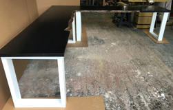 Frisco Table - Custom L-shape writing desk with live edge on white square base