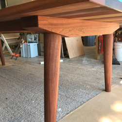 Havana Table - Mixed wood table top with custom base design from customer drawing