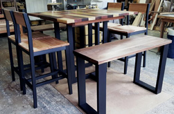 Havana Table - Square counter height Havana table set with chairs and benches and black base