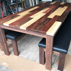 Havana Table - Custom upholstered walnut benches with Havana table top and walnut base