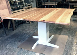 Hudson Table - Custom 4 side live edge Hudson table top on white pedestal base for a kitchen banquette