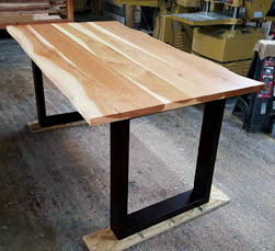 Hudson Table - Rustic hickory table top with live edge cut on espresso finish base