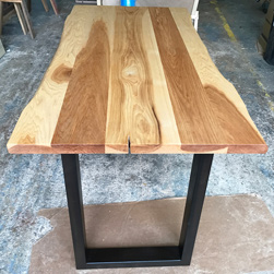 Hudson Table - Hickory table top with live edge cut on black base
