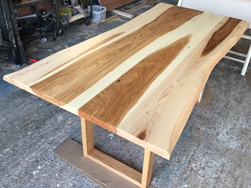Hudson Table - Hickory table top with live edge cut on hickory square base