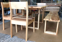 Hudson Table - Rustic hickory table set with matching chairs and bench