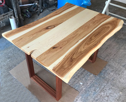 Hudson Table - Hickory table top with live edge cut on mahogany square base