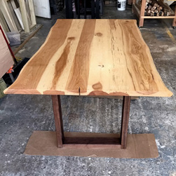 Hudson Table - Rustic hickory table top and live edge cut with walnut base