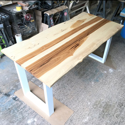 Hudson Table - Great combination of hickory table top with live edge on white base