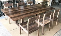 Liberty Table - Wood floor pattern table set with walnut chairs