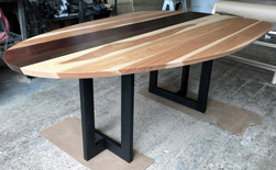 Murphy Table - Hickory, walnut, mahogany wood table top with unique asymmetrical shape on black base