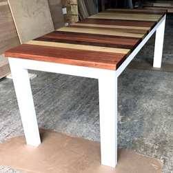Pierson Table - Tabletop with stripes of walnut, poplar and mahogany on white base