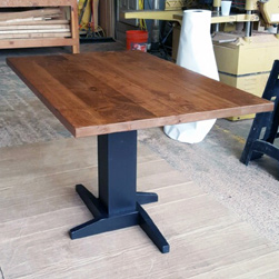Florence Table - Rustic alder table top with pedestal base