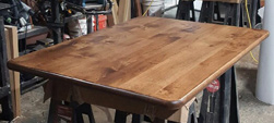 Florence Table - Rustic alder table top with optional round corners and bullnose edges