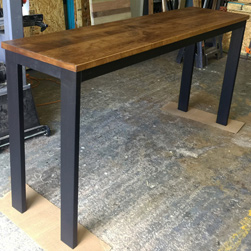 Florence Table - counter height table 36 inch high with alder table top and black 4 corner base