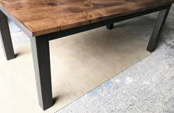 Florence Table - Rustic alder table top on 4x4 Parson table legs in espresso finish