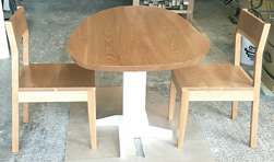 Buford Table - Asymmetrical cherry table top on white pedestal base and matching chairs