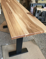 Trinity Table - Narrow hickory table with trestle base customized for booth seating