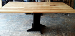 Trinity Table - Wood floor pattern table top made with pecan hickory on black pedestal base